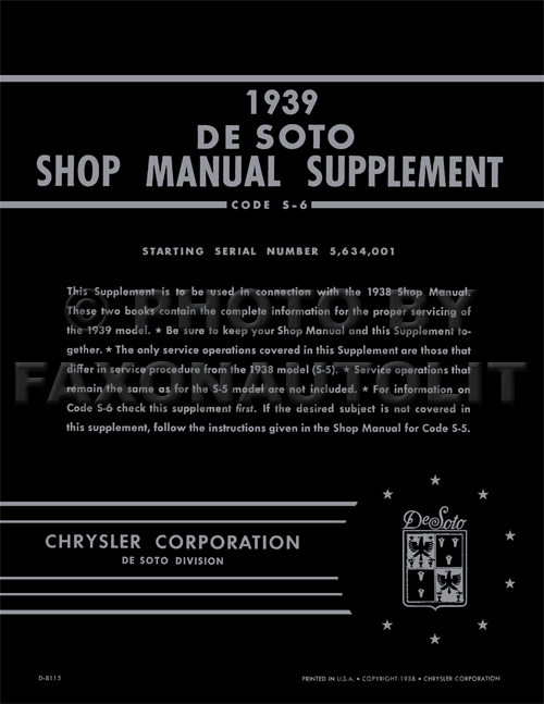 1939 DeSoto Shop Manual Supplement Reprint
