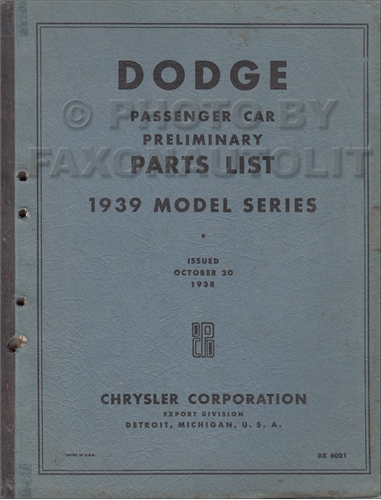 1939 Dodge Car Export Preliminary Parts Book Original D11 D11X D12 D12X