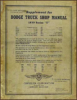1939 Dodge Truck Shop Manual Original Supplement