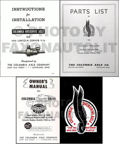 1939 Lincoln Zephyr Columbia Overdrive Axle Reprint Manual Set