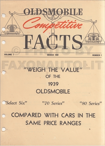 1939 Oldsmobile Competitive Comparison Guide Original Canadian
