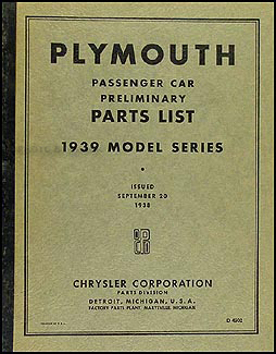 1939 Plymouth Car Preliminary Parts Book Original