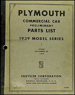 1939 Plymouth Truck Parts Book