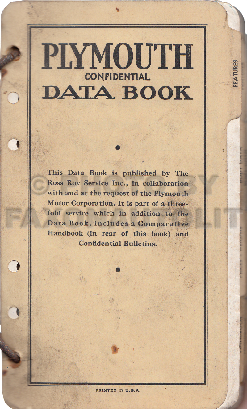 1939 Plymouth Data Book Original