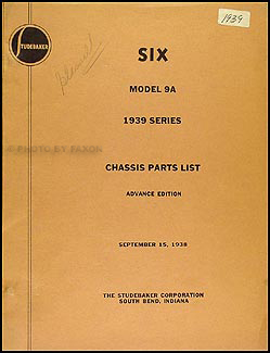 1939 Studebaker Commander Chassis Parts Book Advance Edition Original