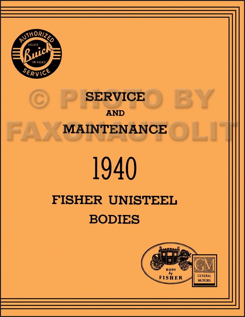 1940 Buick only Body Repair Shop Manual Reprint Special Century Super Roadmaster