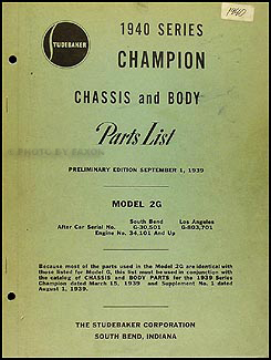 1940 Studebaker Champion Chassis and Body Preliminary Parts Book Orig.