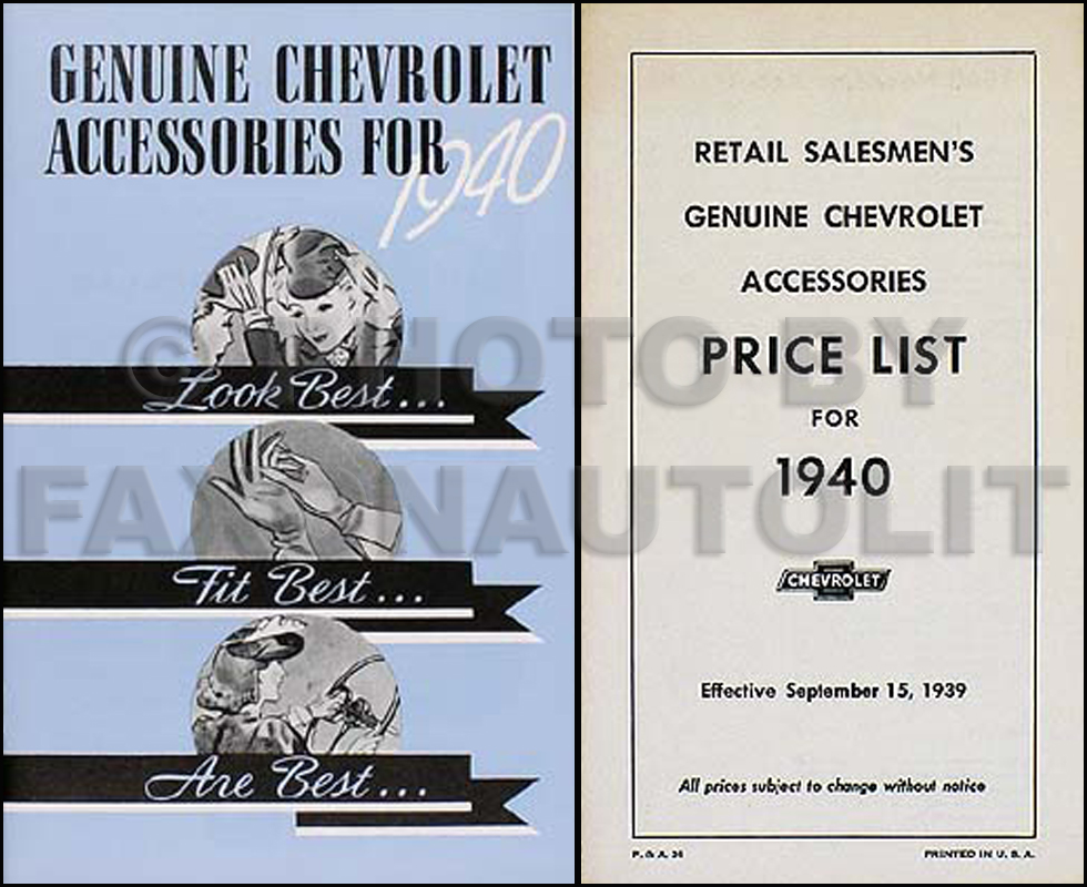 1940 Chevrolet Car Reprint Accessory Catalog Set