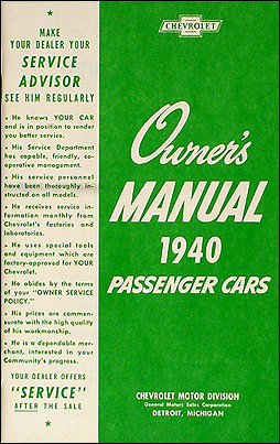 1940 Chevrolet Car Reprint Owner's Manual 40 Chevy