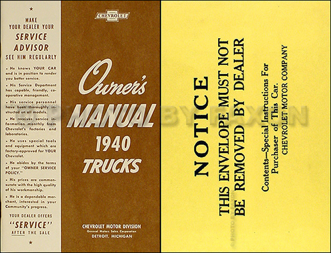 1940 Chevrolet Pickup and Truck Reprint Owner's Manual Package