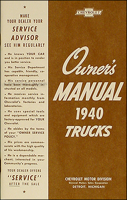 1940 Chevrolet Pickup & Truck Reprint Owner's Manual