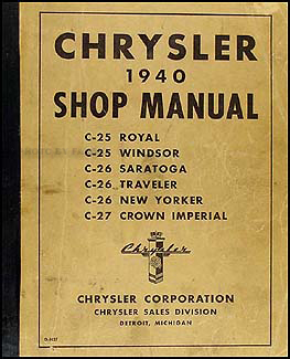 1940 Chrysler Shop Manual Original