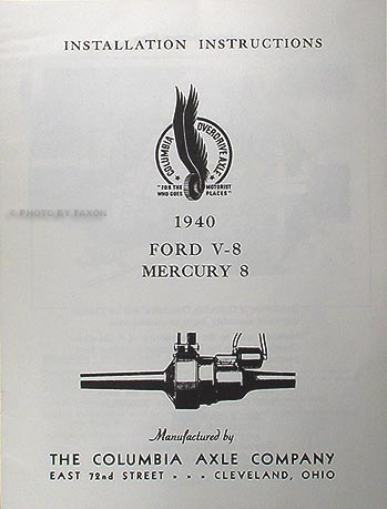 1940 Ford and Mercury Columbia Overdrive Axle Manuals 4 item set