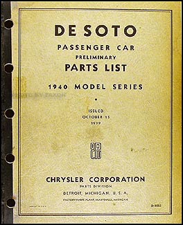 1940 De Soto Preliminary Parts Book Original