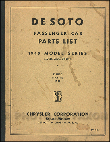 1940 DeSoto Export Parts Book Original De Soto