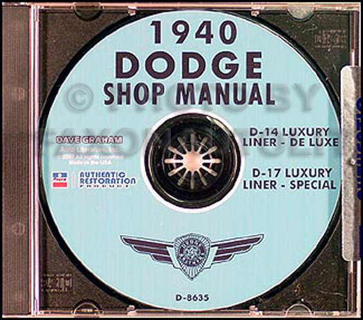 1940 Dodge Car CD-ROM Shop Manual
