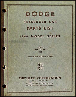 1940 Dodge Car Parts Book Original