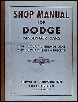 1940 Dodge Car Shop Manual Original