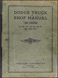 1940 Dodge Truck Shop Manual Original