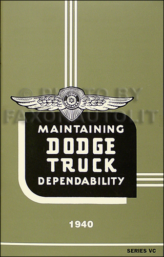 1940 Dodge VC 1/2 ton Truck Reprint Owner's Manual