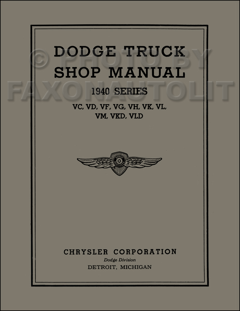1940 Dodge Pickup & Truck Shop Manual Reprint