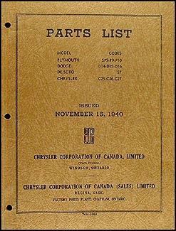 1940 CANADIAN Parts Book Original Chrysler, De Soto, Dodge, Plymouth
