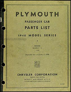 1940 Plymouth Car Parts Book Original