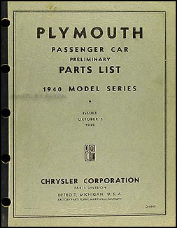 1940 Plymouth Car Preliminary Original Parts Book
