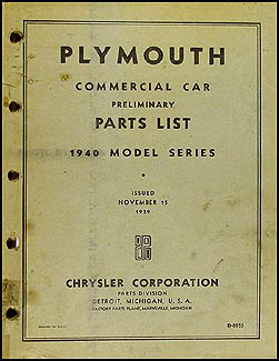 1940 Plymouth Truck Parts Book