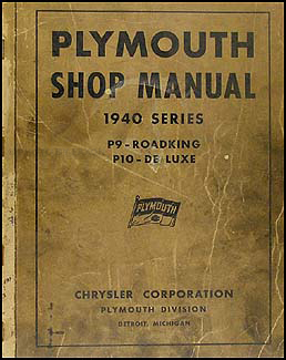 1940 Plymouth Shop Manual Original
