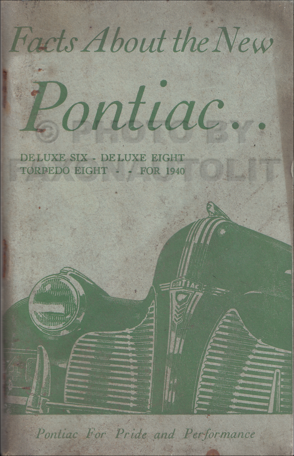 1940 Pontiac Facts Book Original Deluxe and Torpedo Models