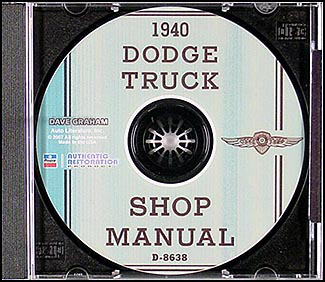 1940 Dodge Truck CD-ROM Shop Manual
