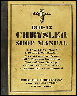 1941-1942 Chrysler Shop Manual Original