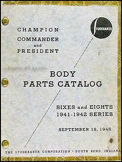 1941-1942 Studebaker Car Original Body Parts Book