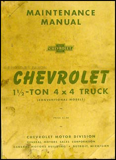 1941-1945 Chevrolet 1 1/2 4x4 G506 Truck Repair Manual Original