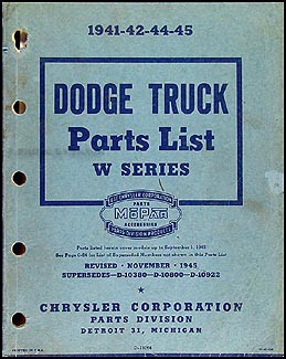 1941-1945 Dodge Pickup and Truck Parts Book Original