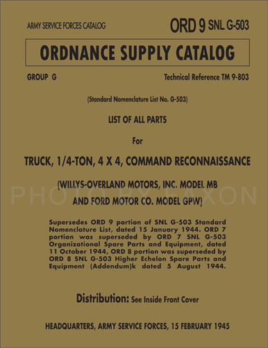 1941-1945 Jeep Parts Book Reprint Ford GPW Willys MB Military SNLG503