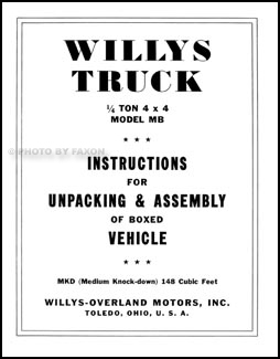 1941-1945 Willys Military MB Jeep Reprint Assembly Instructions