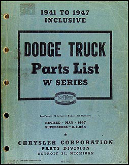 1941-1947 Dodge Pickup and Truck Parts Book Original
