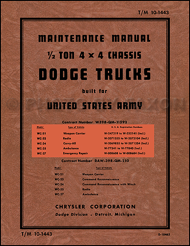 1941-1947 Dodge Military WC ½-ton Truck Shop Manual Reprint