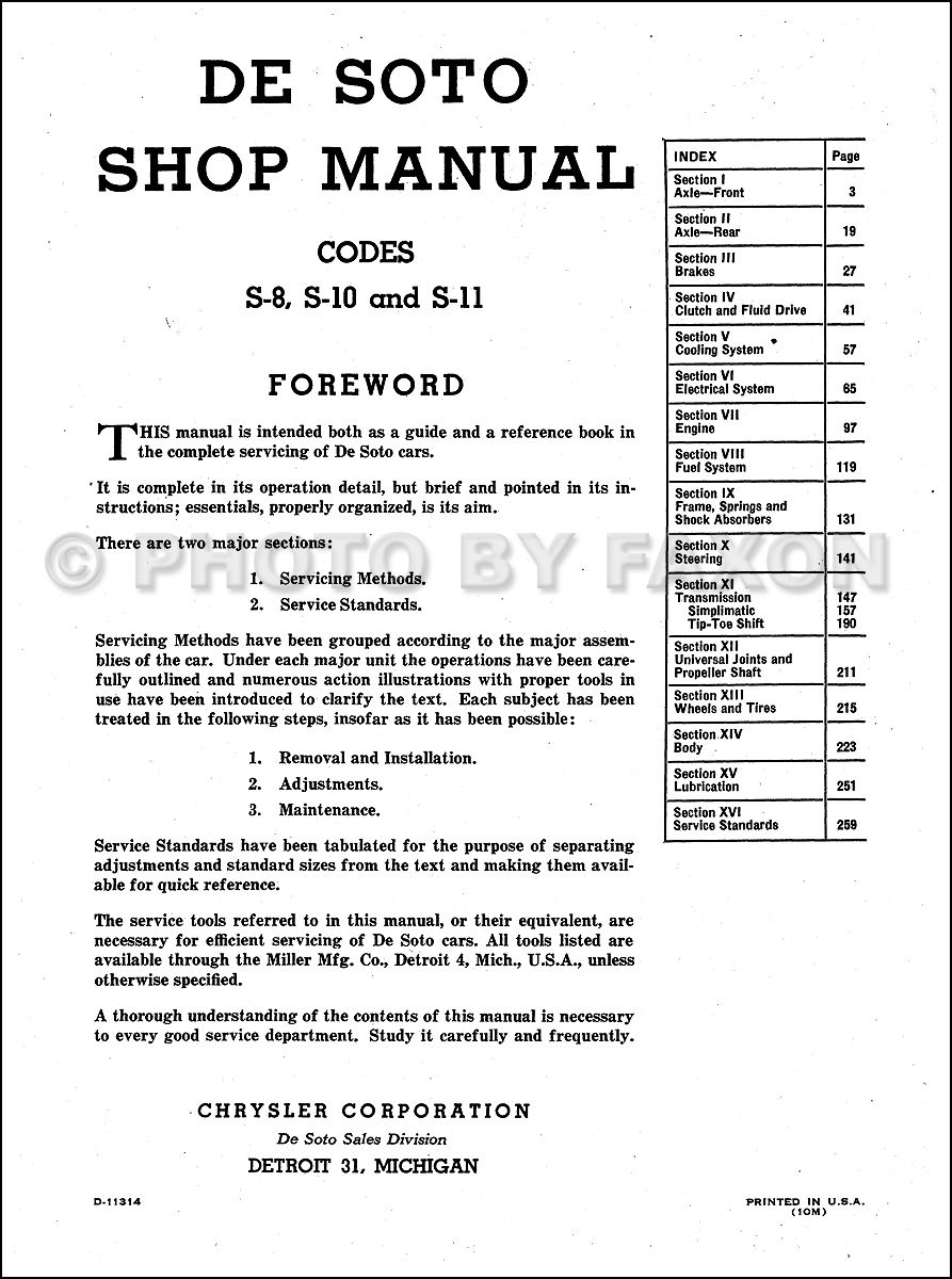 desoto factory repair shop manual reprint