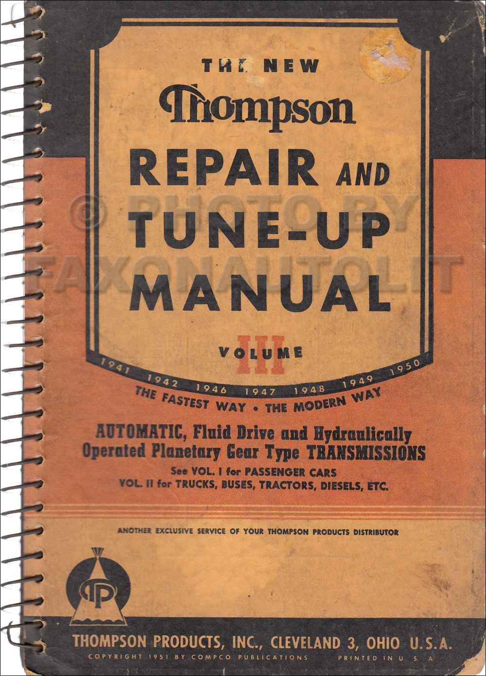 1941-1950 Thompson Auto Transmission Repair Manual Original Passenger Cars