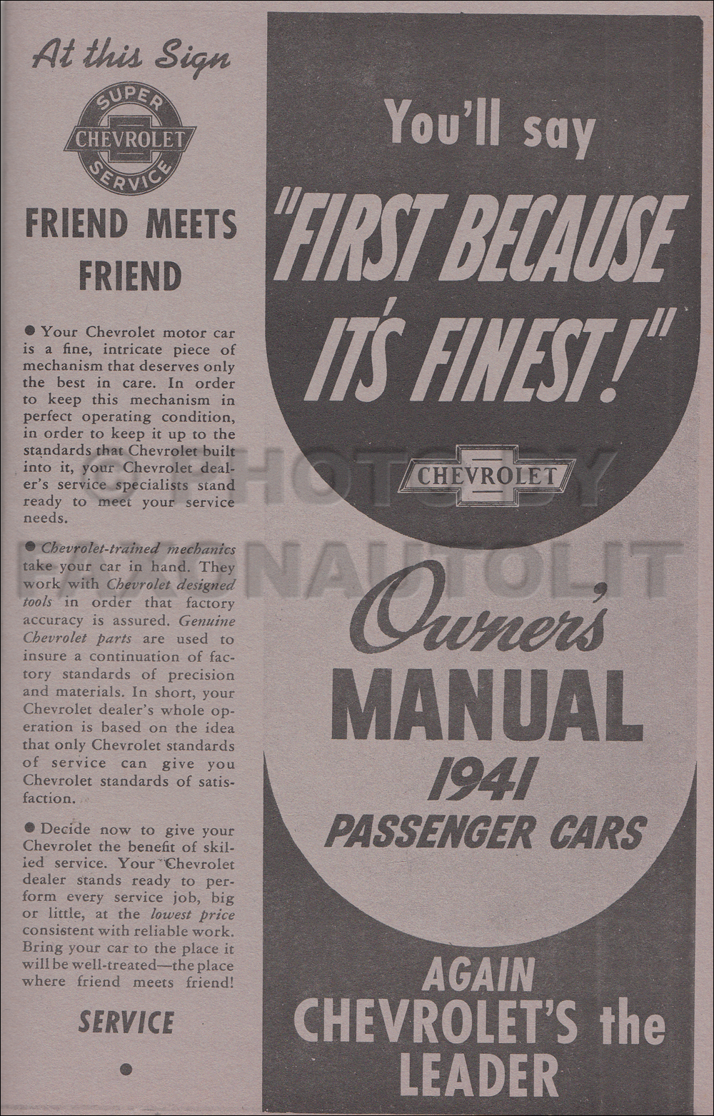1941 Chevrolet Car Owner's Manual Reprint, older edition