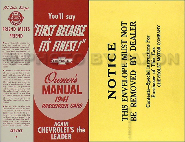 1941 Chevrolet Car Reprint Owner's Manual Package