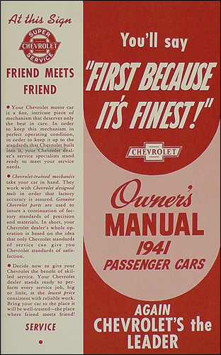 1941 Chevrolet Car Reprint Owner's Manual 41 Chevy