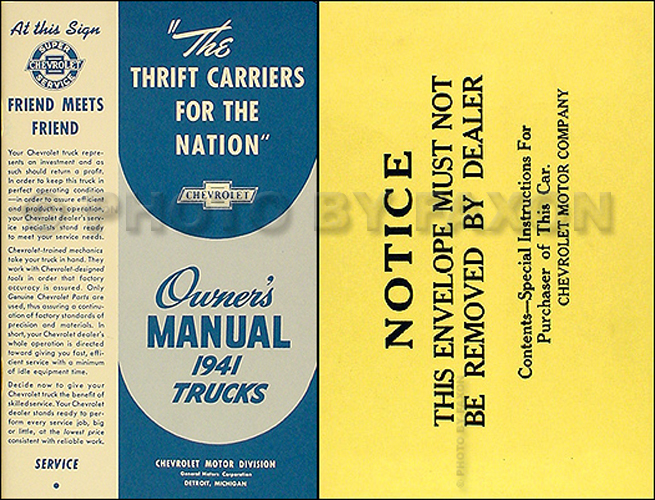 1941 Chevrolet Pickup & Truck Reprint Owner's Manual Package