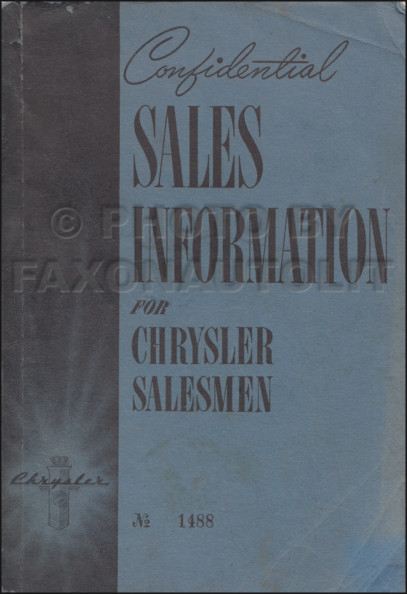 1941 Chrysler Confidential Sales Information Dealer Album Original