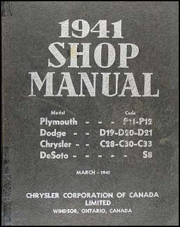 1941 Plymouth Dodge Chrysler DeSoto CANADIAN Repair Shop Manual Original