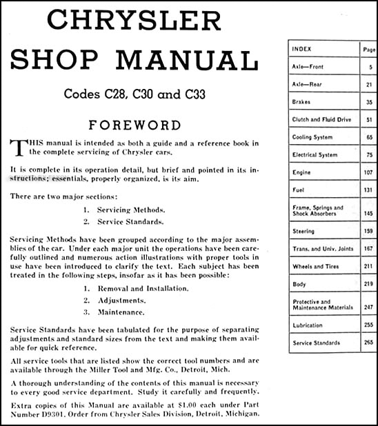 1941 Chrysler Repair Shop Manual Original