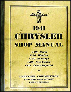 1941 Chrysler Shop Manual Original